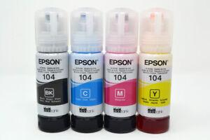 Epson Genuine 104 Ecotank Ink Bottle Refill Full Set for ET-2710 ET-2711 ET-4700