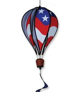 """Hanging PATRIOTIC Hot Air Balloon Wind Spinner w Twister Tail Premier 16""""wo tail"""