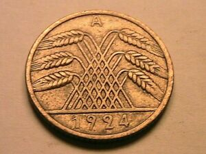 1924-A Germany 10 Pfennig CH XF+/AU Original Luster German Weimar Ten Pfen Coin
