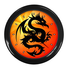 CHINESE ORIENTAL DRAGON COLOUR ROUND WALL CLOCK **NEW ITEM**