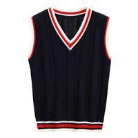 Lady Cable Knit Vest Sweater Jumper Waistcoat Preppy Gilet Knitwear Retro Cute