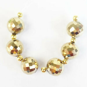 6Pcs/Set 12mm Faceted Gold Titanium Crystal Ball Pendant Bead M48043