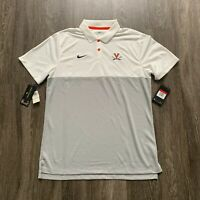NEW Nike Virginia Cavaliers Polo Shirt Mens Large White Grey MSRP $75