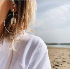 Bohemia Fashion Women Geometric Big Hoop Circle Shell Drop Dangle Earrings