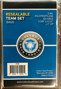 """1200 New CSP RESEALABLE SPORTSCARD TEAM BAGS 3.375"""" x 4.5"""" + 1"""" Lip; 12 Packages"""