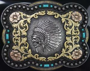Nocona Western Buckle Indian Chief Skull Floral Scroll Antique Look 37038