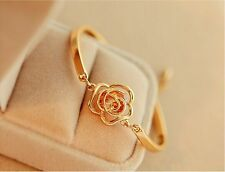 Fashion Women Crystal Flower Bangle Gold Filled Cuff Chain Bracelet Jewelry