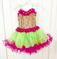 Glamour Girls Dance Costume Pink Green Sequined Tutu Child Size XLC NWT
