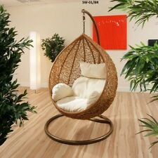 NEW HANGING SWING EGG CHAIR Rattan OUTDOOR brown BASKET & WHITE CUSHION