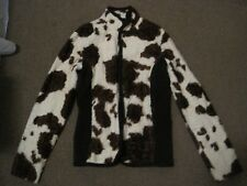 BOGNER CREAM & BROWN SIMULATED FUR COW PRINT JACKET SIZE MED UK 8-10