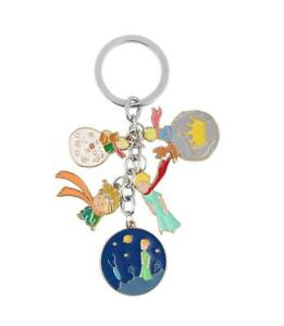The Little Prince Fox Moon and Crown Enamel Metal Keyring Holder Keychain