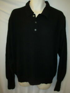 Club room 100% Cashmere Black Polo Collar Sweater Men's M