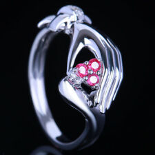 Unique! Engagement Wedding Ring 14K Solid White Gold Natural Diamonds & Rubies