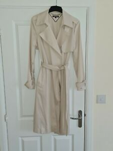 Tommy Hilfiger Cream Knee Length Trench Coat - Size S