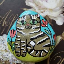 Hand Painted River Rock Stone Kitty Tabby Grey ORIGINAL Cute Whimsical Flowers