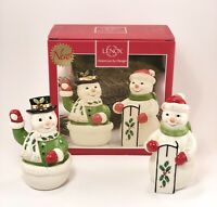 "Lenox Holiday Snow Couple Snowman Salt & Pepper Shakers 4"" Gold Trim NEW IN BOX"