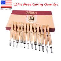 12Pcs Wood Carving Hand Chisel Set DIY Sculpture Woodworking Knife Gouges Tools