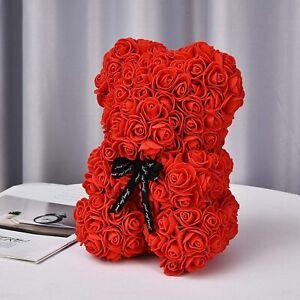 Rose Teddy Bear Valentines Day Birthday Anniversary Kids Gift  + Transparent Box