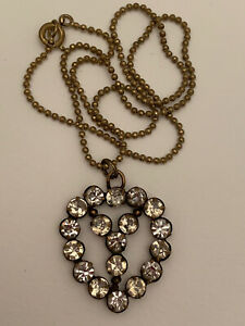 Beautiful Antique/Victorian Brass Paste Heart Pendant And Gilt Chain