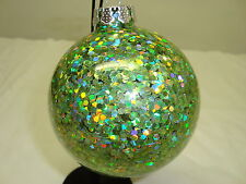 """Green IRRIDESCENT Glittery Shiny Holiday Hanging Ornament*3"""" Glass **FREE SHIP**"""