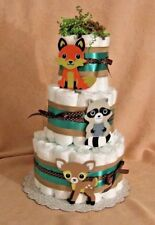 3 Tier Diaper Cake Woodland Forest Friends Clever Fox Baby Shower Centerpiece