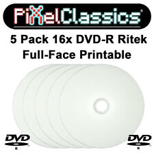 5 Ritek Single Layer DVD R Full Face Printable Blank Recordable Discs In Sleeves