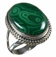 925 Solid Sterling Silver Ring Natural Malachite Gemstone US Size 7 R2588
