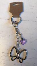 Handmade Silver Tone Butterfly & Pink Crystal Heart Handbag Charm Keyring
