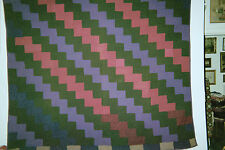 LIGHTNING Antique Quilt, from the Ohio Amish, c 1900, Dress Wools.