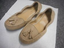 NEW TALBOTS WOMEN'S BEIGE TAN LEATHER SHOES MOCCASINS SIZE 6.5 M THICK SOLE
