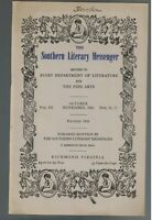 Southern Literary Messenger October 1941 Edgar Allan Poe Matthew Fontaine Maury