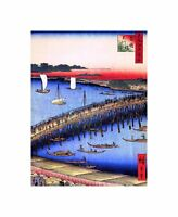 Painting Japanese Woodblock Bridge Over Harbour Art Canvas Print