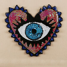 Sequin Embroidered Sew on Patch Badge Applique Large Heart Evil Eyes Fabric