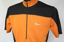 TAGOSS Retro Bike Cycling Jersey Short Sleeve Top 1/2 Zip sz XL Orange / Black
