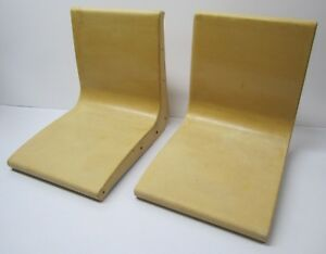 Set of 2 Vtg Mid Century Fiberglass Bowling Alley Seats Chairs Bench Tan As Is
