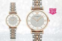 EMPORIO ARMANI AR1926 White Crystal Pave Dial Two-tone Ladies Watch