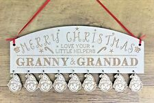 Personalised Christmas Gifts For Grandma Grandad Nan Elf Decoration Sign Gifts