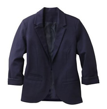 NEW TRAVELSMITH TRAVEL PONTE PERFECT BERNADETTE JACKET NAVY BLUE SIZE 6