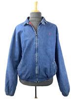 Polo Ralph Lauren Blue Denim Harrington Bomber Jacket Mens Size XL USA Made VTG
