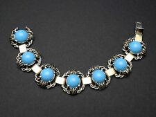 Très beau bracelet ancien vintage en argent massif et cabochon de verre bleu