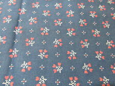 Cranston VTG 80s Calico wedgewood blue pink floral hearts BTHY cotton fabric