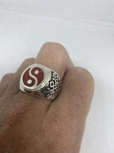 Vintage Red Coral Yin Yang Ring Men's Size 13