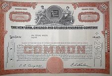 Nickel Plate Road New York, Chicago St. Louis Railroad Company Stock Certificate