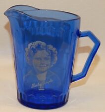 VINTAGE HAZEL ATLAS SHIRLEY TEMPLE MILK PITCHER HEXAGON PATTERN COBALT BLUE