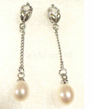 Butterfly Fastening Pearl (Imitation) Silver Plated Fashion Earrings