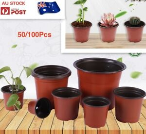 AU STOCK 20/50/100PCS PLASTIC PLANT FLOWER POTS NURSERY SEEDLINGS CONTAINER 012