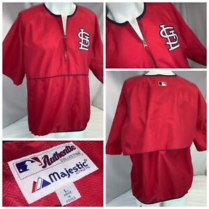 St. Louis Cardinals Majestic BP Pullover L Red ¼ Zip Authentic LNWOT YGI I0-602