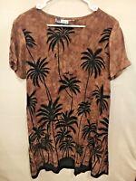 La Cera Women's Short Sleeve Brown Black Palm Tree Shift Dress Sz S-M