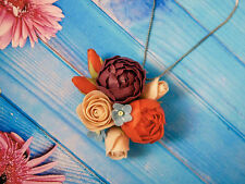 HANDCRAFTED Fashion polymer clay fimo PRETTY flower NECKLACE PENDANT. Handmade