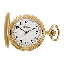 Gotham Men's Gold-Tone Satin Finish Covered Quartz Pocket Watch # GWC14147GA